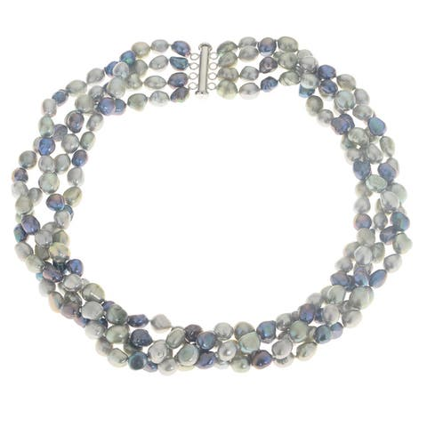 Multicolored Sterling Silver and Freshwater Pearl 18-inch Necklace