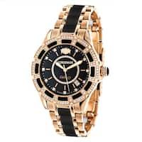Luxurman Galaxy Unisex Black and Rose Gold Diamond/Ceramic Watch