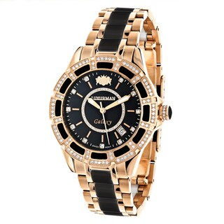 Luxurman Galaxy Unisex Black and Rose Gold Diamond/Ceramic Watch