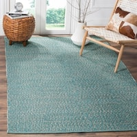 Safavieh Hand-Woven Montauk Flatweave Turquoise / Multicolored Cotton Rug - 8' x 10'