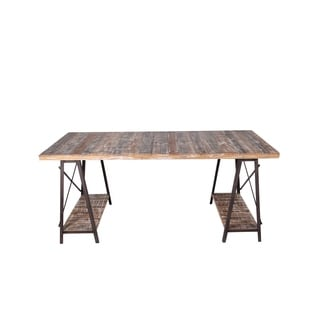 Privilege Rustic Brown Wood Washed Iron and Wood Table