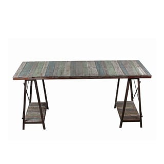 Privilege International Grey Iron and Wood Table