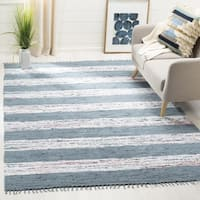Safavieh Montauk Hand-Woven Flatweave White/ Grey Stripe Cotton Rug - 10' x 14'