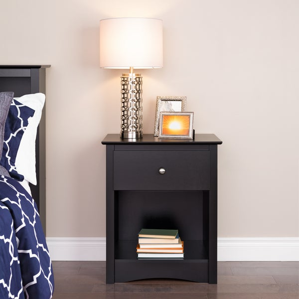 broadway black wood 1 drawer tall nightstand free shipping today 19448385. Black Bedroom Furniture Sets. Home Design Ideas