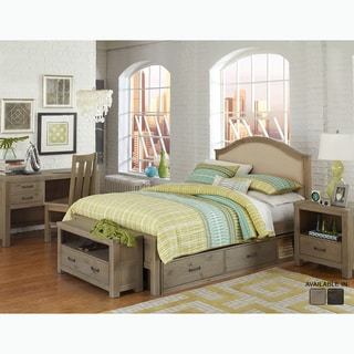 NE Kids Highlands Collection Bailey Grey Pine Driftwood Full-size Upholstered Bed