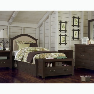 NE Kids Highlands Collection Espresso Wood Bailey-upholstered Twin-size Bed