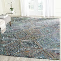 Safavieh Handmade Nantucket Abstract Blue Wool / Cotton Rug - 10' x 14'