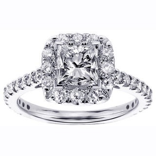 14k White Gold 1 1/3ct TDW Halo Princess-cut Diamond Engagement Ring