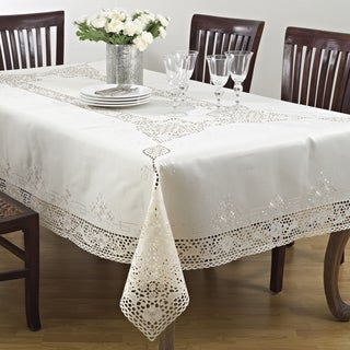 """Embroidery & Cutwork Tablecloth 120"""" (As Is Item)"""