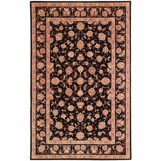 Safavieh Handmade Persian Court Beige / Black Wool / Silk Rug (10' x 14')