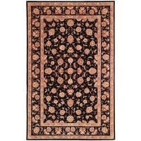 Safavieh Handmade Persian Court Beige / Black Wool / Silk Rug - 8' x 10'