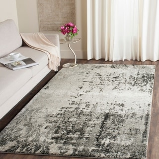 Safavieh Retro Modern Abstract Light Grey / Grey Distressed Rug (10' x 14')