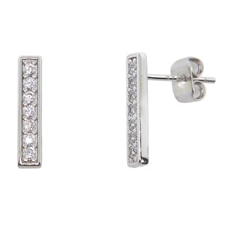 Eternally Haute White Brass Cubic Zirconia Pave Bar Stud Earrings