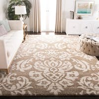 Safavieh Florida Shag Beige/ Cream Damask Large Area Rug - 9'6 x 13'
