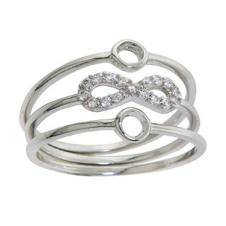 Eternally Haute Set of 3 Stackable Pave Infinity Rings - Silver