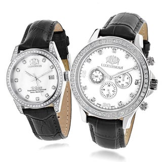 Luxurman Matching His-and-Hers Set of Black Leather Watches