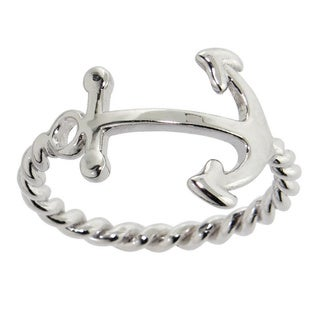 Eternally Haute Women's Solid Sterling Silver Twisted Anchor Ring
