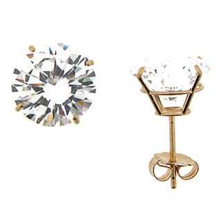 Meredith Leigh Women's 14k Yellow Gold 9-millimeter Round Cubic Zirconia Stud Earrings