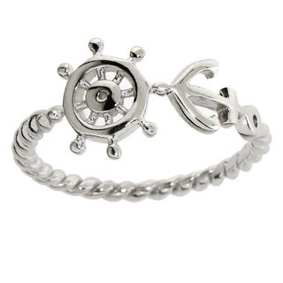 Eternally Haute Women's Solid Sterling Silver Anchor and Wheel Ring