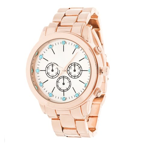 Fortune NYC Rose-Gold Alloy Case w/ Stainless Steel Back and Alloy Strap Watch