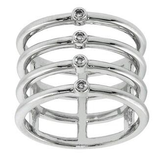 Eternally Haute Brass Cubic Zirconia Pave Ice Quad Ring