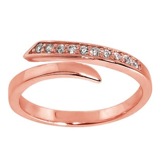 Eternally Haute 14K Rose Gold Plated Solid Sterling Silver Pave Wrap Midi Ring