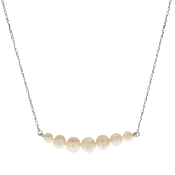 7b8fa5d5f Pearls For You Sterling Silver Graduated White Freshwater Pearl Necklace