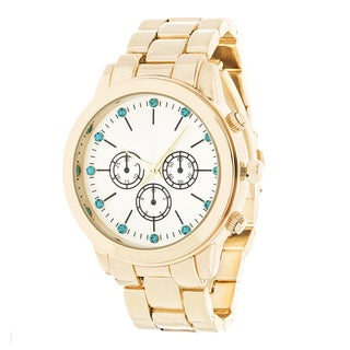 Fortune NYC Gold Alloy Case w/ Stainless Steel Back and Alloy Strap Watch