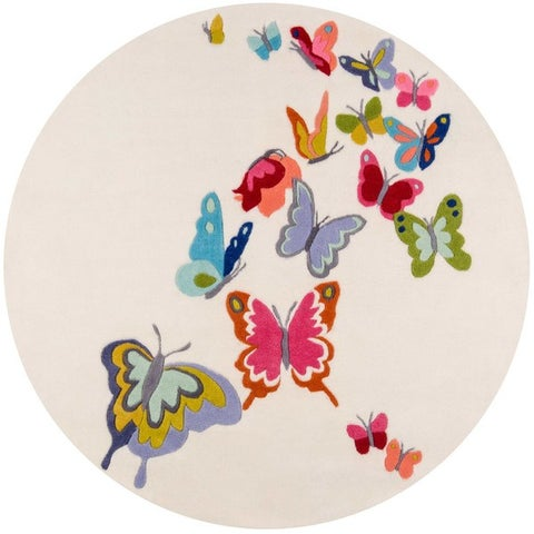 Momeni Lil Mo Whimsy Grey Butterfly Garden Hand-Tufted and Hand-Carved Rug (5' x 5' Round)