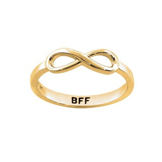 Eternally Haute 14k Goldplated Solid Sterling Silver BFF Infinity Ring