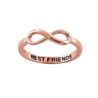 Eternally Haute Rose Gold Plated Solid Sterling Silver Best Friends Infinity Ring - Pink (Option: 9)|https://ak1.ostkcdn.com/images/products/12661170/P19448836.jpg?impolicy=medium