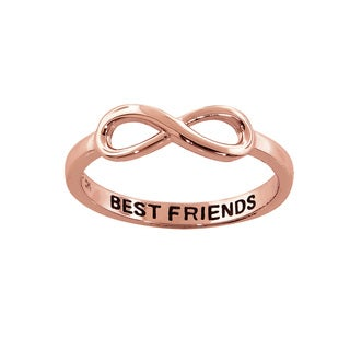 Eternally Haute 14K Rose Gold Plated Solid Sterling Silver Best Friends Infinity Ring - Pink