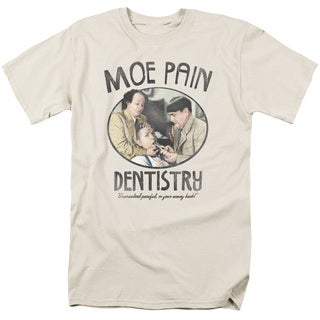 Three Stooges/Moe Pain Short Sleeve Adult T-Shirt 18/1 in Cream/Ivory