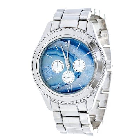 Brooklyn Exchange Marbleized Light Blue Dial w/ Silver Case Watch