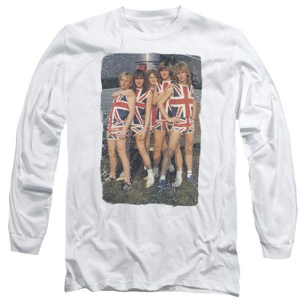 6d17ef91 Shop Def Leppard/Flag Photo Long Sleeve Adult T-Shirt 18/1 in White ...