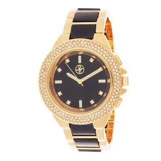 Fortune NYC Gold Alloy Case w/ Stone Embellished Bezel Watch