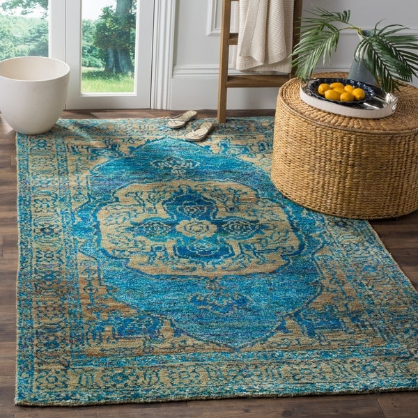 Shop Safavieh Hand Knotted Tangier Teal Beige Wool Rug 8 X 10