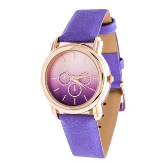 Fortune NYC Rose Gold Case and Turquoise Leather Strap Watch - Purple