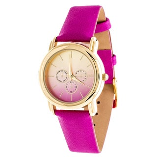Fortune NYC Gold Case and Turquoise Leather Strap Watch (Option: Pink)