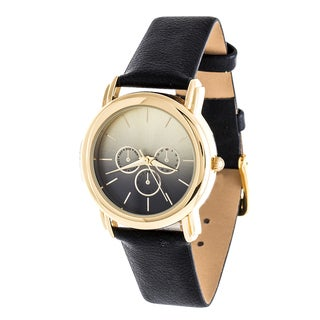 Fortune NYC Gold Case and Turquoise Leather Strap Watch - Black