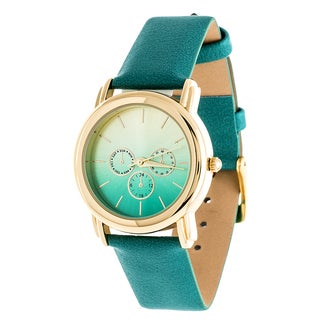 Fortune NYC Gold Case and Turquoise Leather Strap Watch - Green