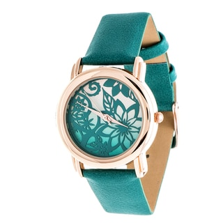 Fortune NYC Rose Gold Case and Turquoise Leather Strap Watch