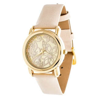 Fortune NYC Gold Case and Beige Leather Strap Watch