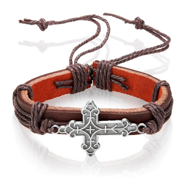 Men's Leather Geometrically Textured Cross Adjustable Bracelet - 8.5 inches (14mm Wide)