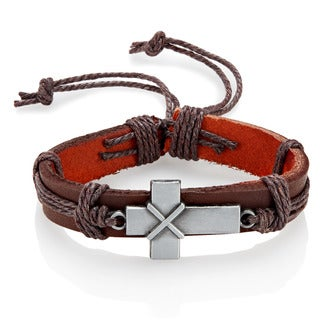 Men's Leather Laced Cross Adjustable Bracelet - 8.5 inches (14mm Wide)