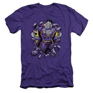 Superman/Bizzaro Breakthrough Short Sleeve Adult T-Shirt 30/1 in Purple