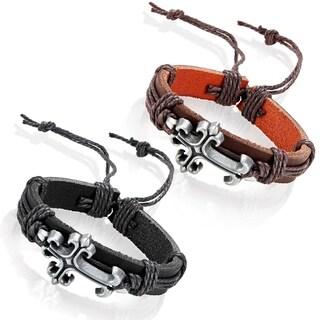 Men's Leather Fleur de Lis Cross Adjustable Bracelet - 8.5 inches (14mm Wide)