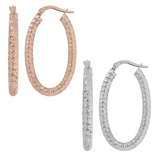 Fremada Italian 14k Gold Diamond-cut Oval Hoop Earrings (white gold or rose gold)