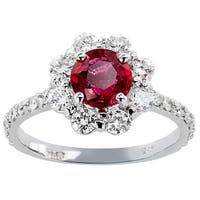 14k White Gold Ruby and Diamond High Polished Ring (Size 6.5)