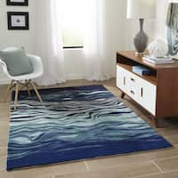Momeni New Wave Grey Hand-Tufted and Hand-Carved Wool Rug - 8' x 11'